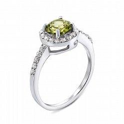 Серебряное кольцо с хризолитом и фианитами 000135963