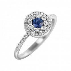 Кольцо из белого золота Пэтси с сапфиром и бриллиантами