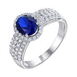 Серебряное кольцо с синтезированным сапфиром и фианитами 000064370