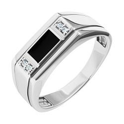 Серебряный перстень-печатка с черной эмалью и белыми фианитами 000093492
