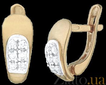 Серебряные серьги с позолотой и цирконием Морская волна SLX--С3Ф/065