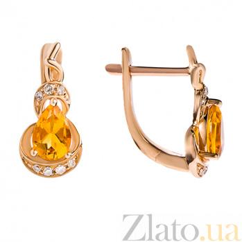 Золотые серьги с бриллиантами и цитрином Sunny Сitrine 140314с/ц