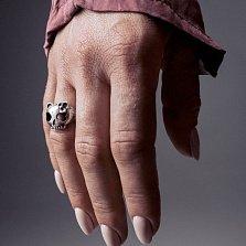 Кольцо из серебра Kitty Dead с черепом кошечки и чернением