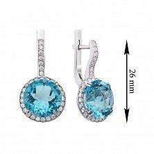 Серебряные серьги с голубым кварцем и фианитами 000132682