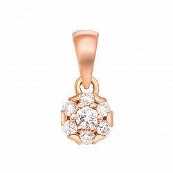 Золотой кулон в красном цвете с бриллиантами 000126885