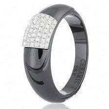 Кольцо из черной керамики Исабелль с серебром и фианитами