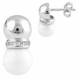 Серебряные серьги-пуссеты Камилла с белой керамикой и фианитами