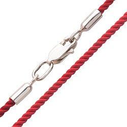 Шелковый шнурок с серебряной застежкой-карабином, 2мм 000047074