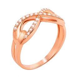 Золотое кольцо Сияющая бесконечность в красном цвете с фианитами 000123398