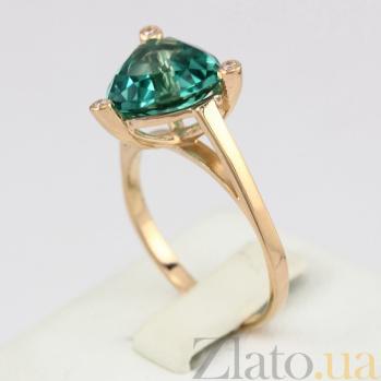 Золотое кольцо Хлоя с синтезированным аметистом и фианитами 000030781