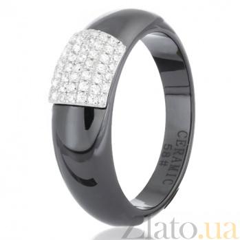 Кольцо из черной керамики Исабелль с серебром и фианитами 000030987