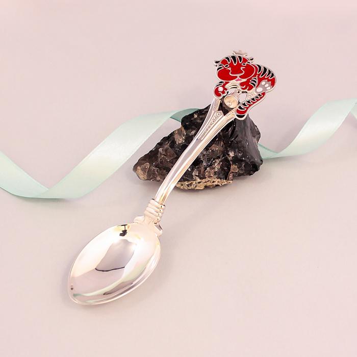 Серебряная чайная ложка Тигренок с разноцветной эмалью и колокольчиком 000079894
