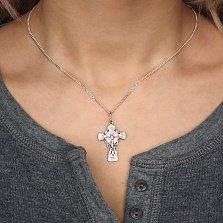 Серебряный крест Дивный знак с Богородицей на тыльной стороне