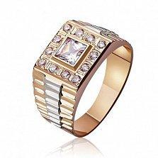 Золотой перстень-печатка Легион в комбинированном цвете с фианитами