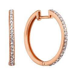 Золотые серьги-кольца в комбинированном цвете с кристаллами циркония, d 23mm