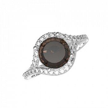Серебряное кольцо Фиона с раухтопазом и фианитами 000063375