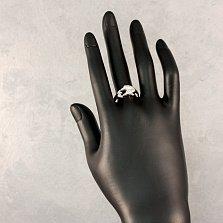 Серебряное кольцо Пара дельфинов с фианитами