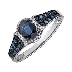 Кольцо из белого золота с сапфирами и бриллиантами 000147798