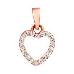 Золотой кулончик с цирконами Сердце 000023351