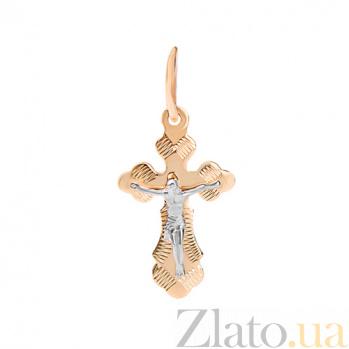 Золотой крестик в красном цвете золота HUF--133-ИС алм
