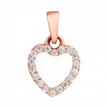 Золотий кулончик з цирконами Серце 000023351
