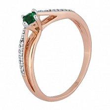 Позолоченное серебряное кольцо с зеленым фианитом Балет