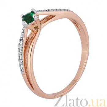 Позолоченное серебряное кольцо с зеленым фианитом Балет 000028215