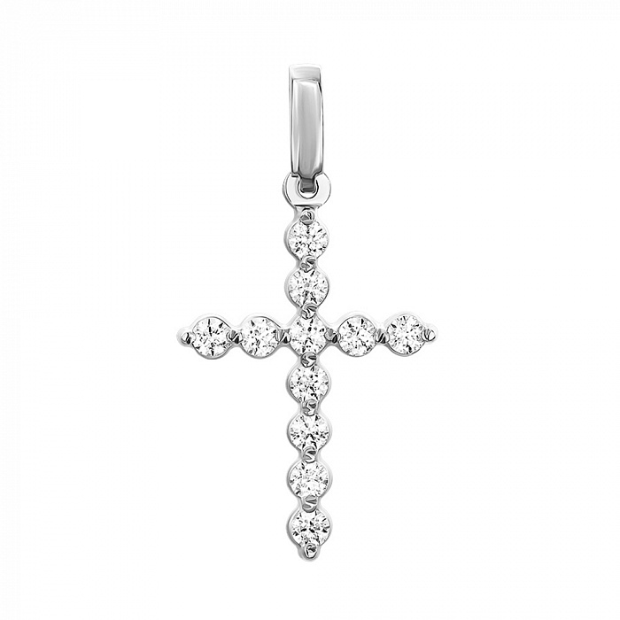 Декоративный крестик из белого золота с кристаллами Swarovski 000053333 000053333