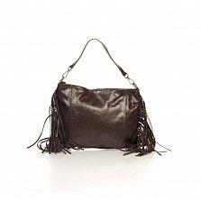 Кожаный клатч Genuine Leather 8466 кофейного цвета с бахромой и короткой ручкой