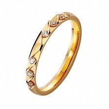 Золотое обручальное кольцо Гладкая судьба с фианитами