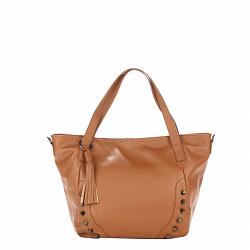 Кожаная сумка на каждый день Genuine Leather 8868 коньячного цвета с декоративными заклепками