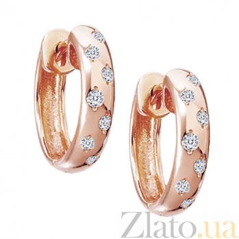 Золотые серьги с бриллиантами Дама сердца KBL--С2095/крас/брил