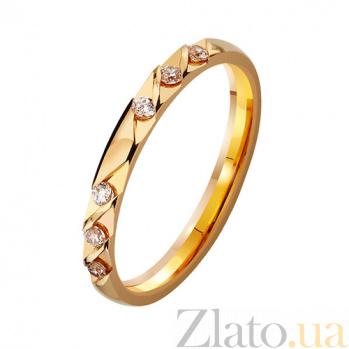 Золотое обручальное кольцо Гладкая судьба с фианитами TRF--412899