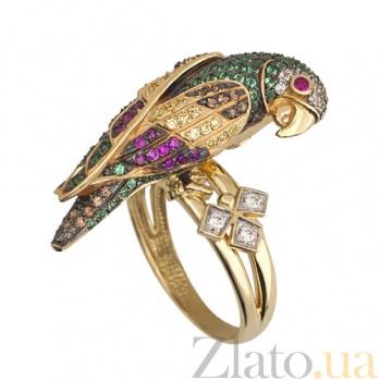 Кольцо из желтого золота Королевский попугай с фианитами VLT--ТТ1034-1