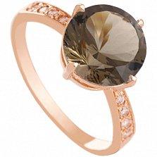 Золотое кольцо Эстель с гидротермальным раухтопазом и фианитами
