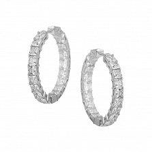Серебряные серьги-конго Свадебный танец с дорожками белых фианитов