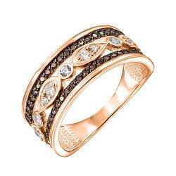 Кольцо в красном золоте с коньячными и белыми фианитами 000122246