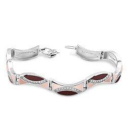 Серебряный браслет Пальмира с фианитами, коньячной и розовой эмалью