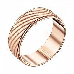 Обручальное кольцо из красного золота с алмазной гранью 000008407
