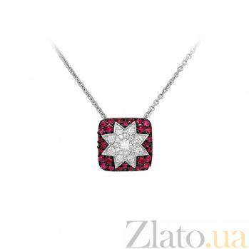 Колье из белого золота Звезда эльфов с рубинами и бриллиантами 000081282