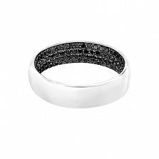 Золотое кольцо с черными бриллиантами Лунная ночь