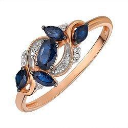 Кольцо из красного золота с сапфирами и бриллиантами 000145460