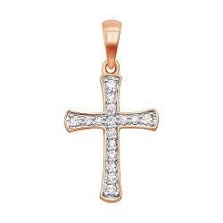Крестик из красного золота с бриллиантами 000138078