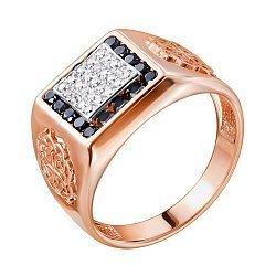Перстень-печатка из красного золота с цирконием 000140482