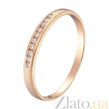 Золотое кольцо Скрытый родник в красном цвете с фианитами 000023505