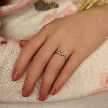 Серебряное кольцо Биение двух сердец с фианитами