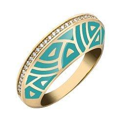 Кольцо в желтом золоте с бриллиантами и эмалью 000073447