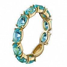 Золотое кольцо Альварра в евро цвете с голубыми топазами