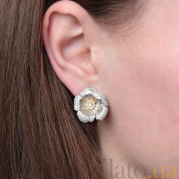 Серьги из серебра и золота с цирконием Лилия 000030166