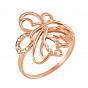 Золотое кольцо Цветущий узор в красном цвете с фианитами